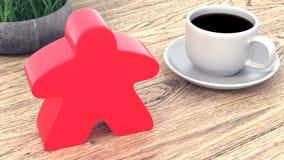 Un grand meeple à côté d'une tasse de café 3d rendent illustration de vecteur
