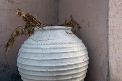 Un grand vase en pierre rond avec les branches sèches des usines sur un fond d'un mur en pierre couvert de rosée Images libres de droits