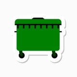 Un grande autoadesivo verde del recipiente di riciclaggio Fotografie Stock