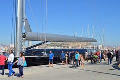 Un grande boma su un yacht gigante Fotografia Stock