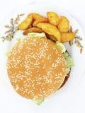 Un grande hamburger Fotografie Stock Libere da Diritti