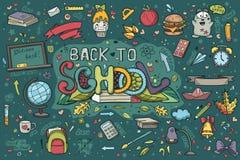 Un grande insieme degli scarabocchi disegnati a mano di nuovo alla scuola Fotografia Stock Libera da Diritti