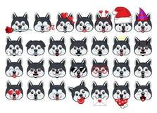 Un grande insieme delle teste di piccoli cani con differenti emozioni ed oggetti differenti royalty illustrazione gratis