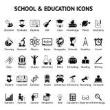 Un grande insieme di 40 della scuola ed icone di istruzione Immagini Stock Libere da Diritti