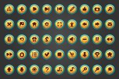 Un grande insieme di un bottone di cinquanta vettori per progettazione del gioco Fotografie Stock