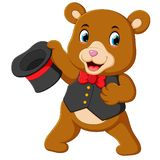 Un grande orso del circo usa il migliore costume e la tenuta del suo cappello illustrazione vettoriale