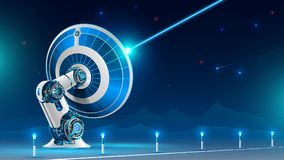 Un grande segnale radio di radiodiffusione del riflettore parabolico nel cielo notturno nelle montagne La tecnologia di televisio illustrazione vettoriale