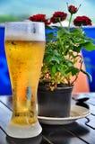 Un grande vetro di birra fredda fotografie stock