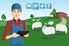 Un granjero con una tableta del ordenador libre illustration