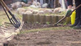 Un granjero de la mujer trabaja la tierra con una azada almacen de metraje de vídeo
