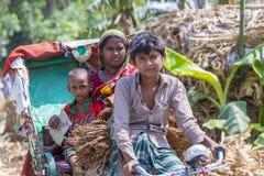 Un granjero de sexo femenino del tabaco y su niño que van a comercializar la venta para secar la hoja del tabaco Imagenes de archivo