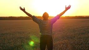 Un granjero del hombre joven se coloca en un campo de trigo, mirando la puesta del sol y agitando sus manos Hombre de negocios fe almacen de metraje de vídeo
