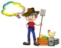 Un granjero que sostiene un rastrillo con un reclamo vacío libre illustration