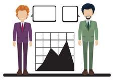 Un graphique avec deux hommes d'affaires Images libres de droits