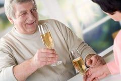 Un grillage aîné heureux de couples Photos stock