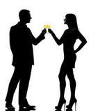 Un grillage potable de champagne de femme d'homme de couples Photographie stock