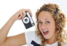 Un grito emocionado de la mujer joven Imagen de archivo libre de regalías
