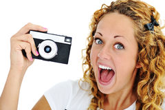 Un grito emocionado del adolescente Foto de archivo