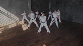 Un groupe d'athlètes dans des kimonos blancs exécute synchroniquement un ensemble d'exercices du Taekwondo L'école de combat du banque de vidéos