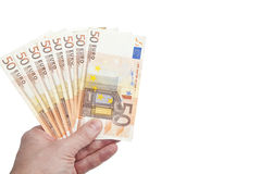 Un groupe de 50 euro notes Photo libre de droits