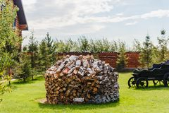 Un groupe de bois de bouleau plié sur l'herbe photos stock