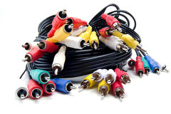 Un groupe de câbles visuels audio photo libre de droits
