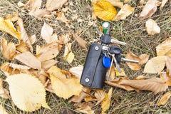 Un groupe de clés dans un cas en cuir est tombé à la terre, dans les feuilles photos stock