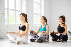 Un groupe de femmes de yoga est engagé dans la formation dans le gymnase Le concept des sports, mode de vie sain, forme physique, photographie stock libre de droits