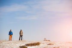 Un groupe de grimpeurs dans les montagnes Images stock
