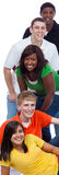 Un groupe de jeunes étudiants universitaires/amis sur le blanc Image libre de droits