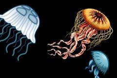 Un groupe de méduses en mer foncée illustration libre de droits