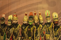 Un groupe de marionnette indonésienne authentique d'ombre, Wayang Photo libre de droits