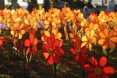 Un groupe de moulin à vent de fleur de jouets Image libre de droits