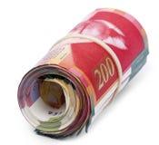 Rouleau de 200 nouvelles factures israéliennes de shekels Photo libre de droits