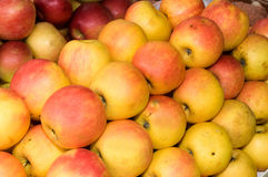 Un groupe de pommes jaunes et vertes sur la table sur le marché Image stock