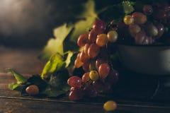 Un groupe de raisins juteux frais dans la cuvette en métal Photos stock