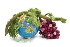 Un groupe de raisins de laine felted à côté d'un globe Photo stock