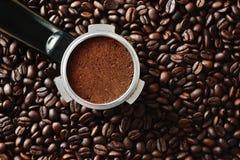 Un grouphead tratado de forzar de la máquina de café express Imagen de archivo libre de regalías