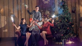 Un grupo de amigos disfruta de la Navidad con el vino y las bengalas almacen de video