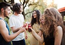 Un grupo de amigos que se colocan al aire libre en un roadtrip a través del campo, botellas que tintinean imagen de archivo