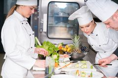Un grupo de cocineros jovenes prepairing la comida en restaurante de lujo imágenes de archivo libres de regalías