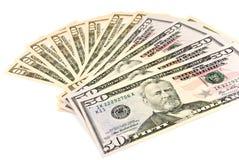 Un grupo de dólares americanos - en el backgro blanco Foto de archivo libre de regalías