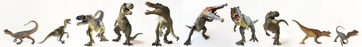 Un grupo de diez dinosaurios en fila Imagen de archivo libre de regalías