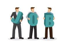 Un grupo de empresarios que llevan a cabo alfabeto gigante para formar el trabajo de la palabra Concepto de reclutamiento, de tra stock de ilustración