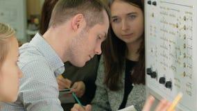 Un grupo de estudiantes que trabajan junto en un laboratorio de la comprobación del banco de pruebas Muchos interruptores y luces almacen de metraje de vídeo
