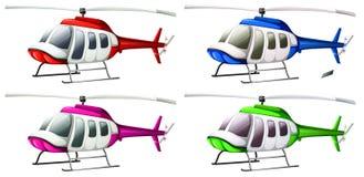 Un grupo de helicópteros ilustración del vector