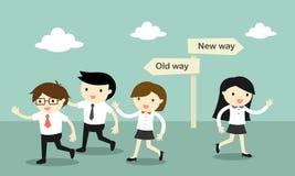 Un grupo de hombres de negocios que caminan a la vieja manera, pero negocio otro paseo de la mujer a la nueva manera ilustración del vector