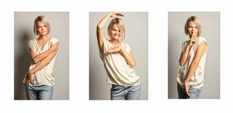 Un grupo de imágenes de una mujer hermosa joven imágenes de archivo libres de regalías