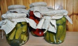 Un grupo de latas con los tomates y los pepinos conservados Fotografía de archivo libre de regalías