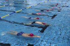 Un grupo de muchachas y de muchachos en la piscina a aprender junto foto de archivo